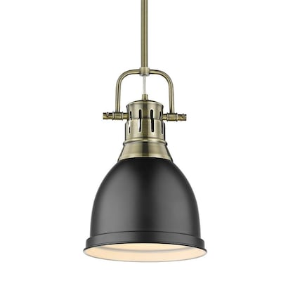 Golden Lighting Duncan Small Pendant with Rod inAged
