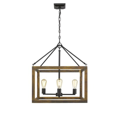 Golden Lighting Sutton 4 Light Pendant In Black With Wood