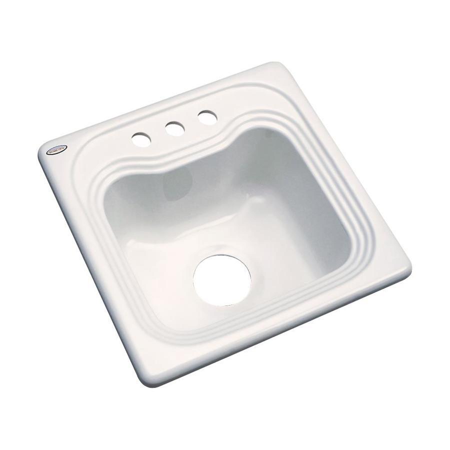 Dekor Almond 3-Hole Acrylic Drop-in Residential Bar Sink