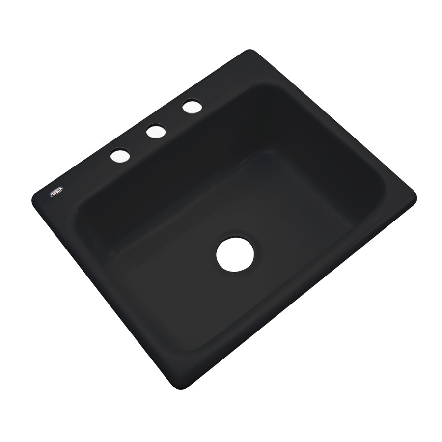 Dekor Master 22-in x 25-in Black Single-Basin Acrylic Drop-in 3-Hole Residential Kitchen Sink