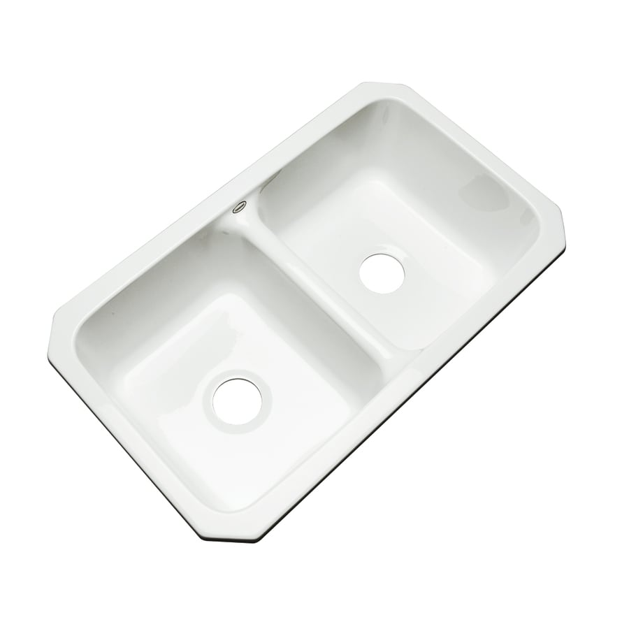 Dekor Master 18.25-in x 33-in White Double-Basin Acrylic Undermount Residential Kitchen Sink