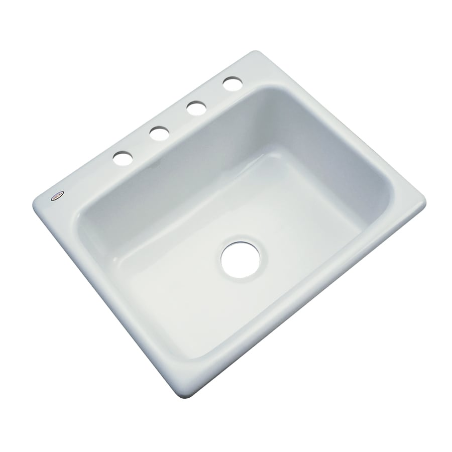 ... Ice Gray Single-Basin Acrylic Drop-in 4-Hole Residential Kitchen Sink