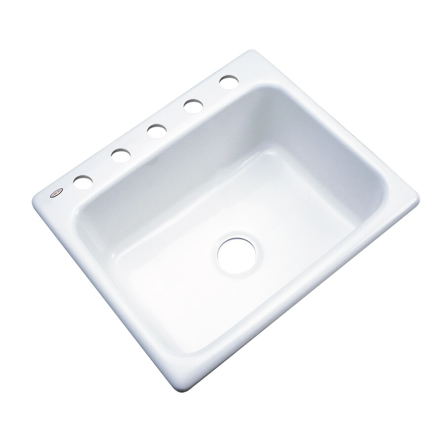 Dekor Master 22-in x 25-in White Single-Basin-Basin Acrylic Drop-in 5-Hole Residential Kitchen Sink