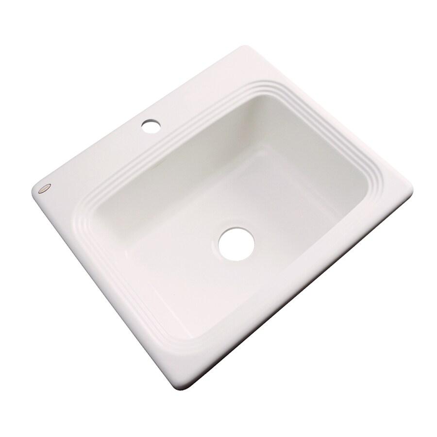 Dekor Master 22-in x 25-in Bone Single-Basin Acrylic Drop-in 1-Hole Residential Kitchen Sink