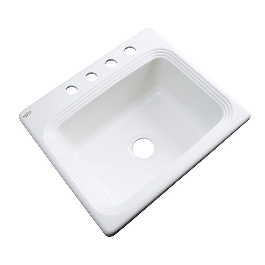Dekor Master 22-in x 25-in White Single-Basin Acrylic Drop-in 4-Hole Residential Kitchen Sink