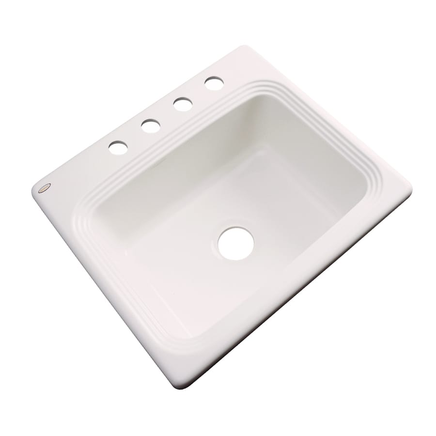 Dekor Master 22-in x 25-in Bone Single-Basin Acrylic Drop-in 4-Hole Residential Kitchen Sink