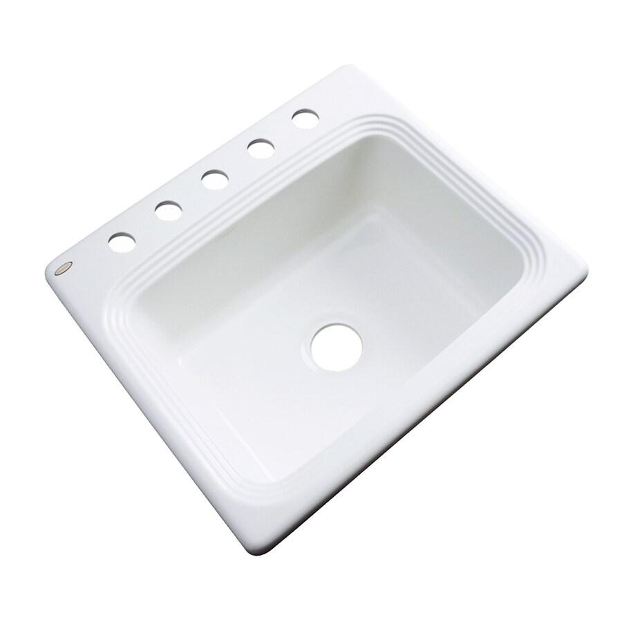 Dekor Master 22-in x 25-in White Single-Basin Acrylic Drop-in 5-Hole Residential Kitchen Sink