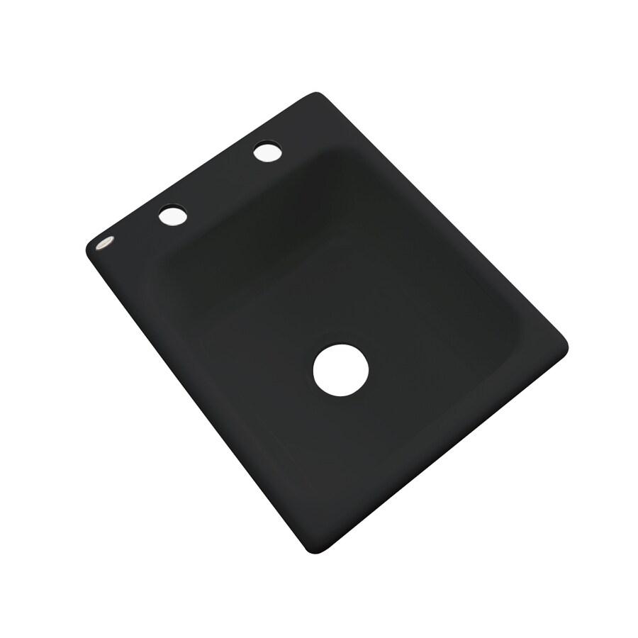Dekor Black 2-Hole Acrylic Drop-in Residential Bar Sink