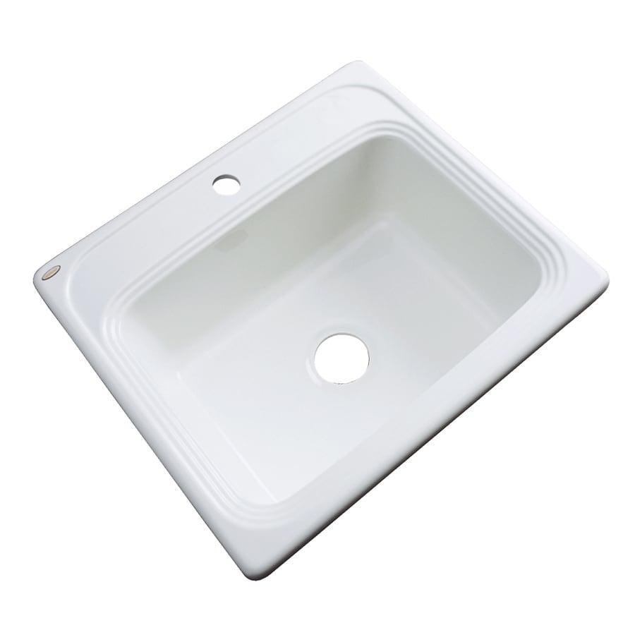 Dekor Master 22-in x 25-in White Single-Basin Acrylic Drop-In Kitchen Sink
