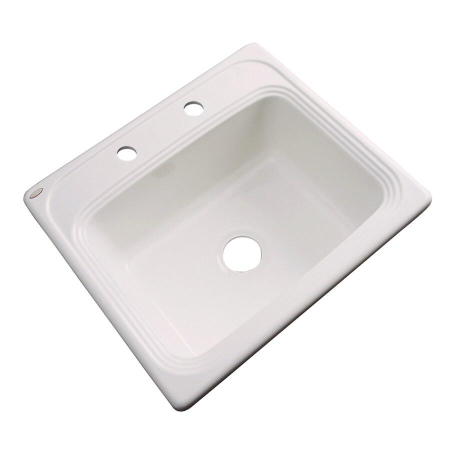 Dekor Master 22-in x 25-in Bone Single-Basin Acrylic Drop-In Kitchen Sink