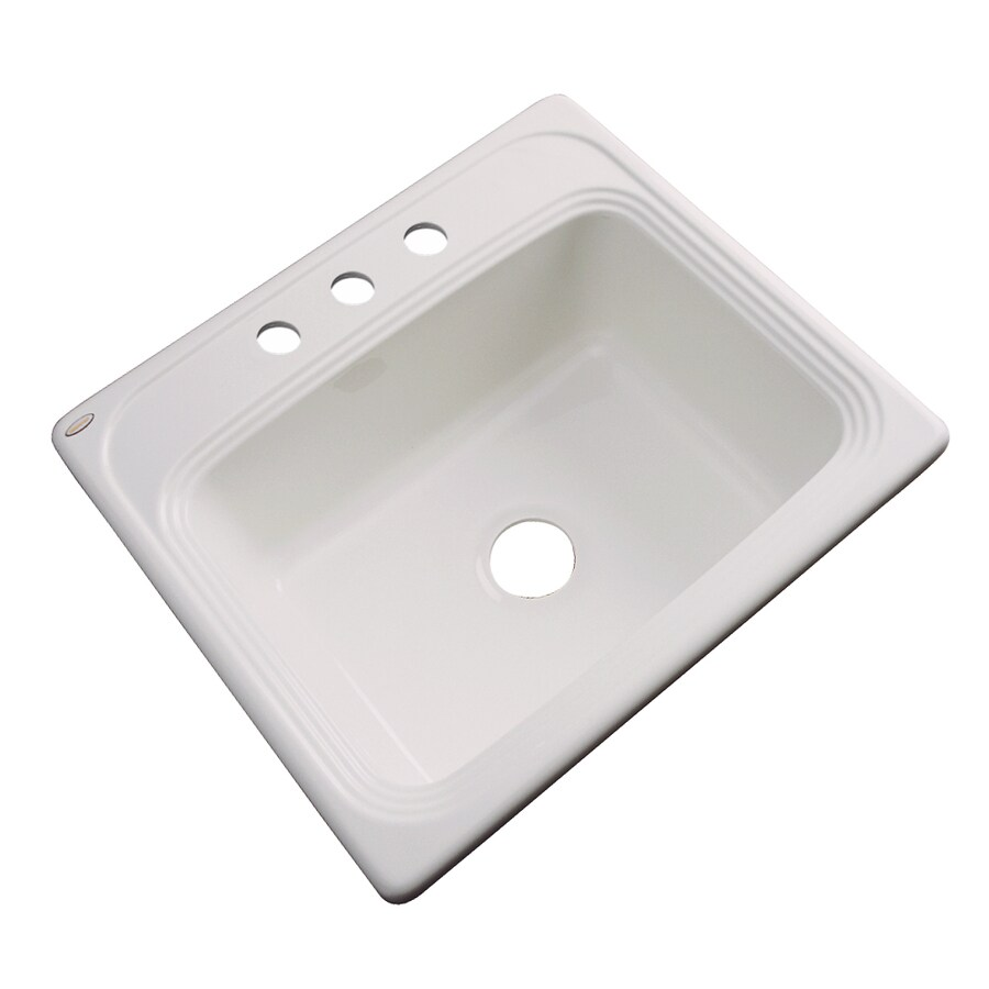 Dekor Master 22-in x 25-in Natural Single-Basin Acrylic Drop-in 3-Hole Residential Kitchen Sink