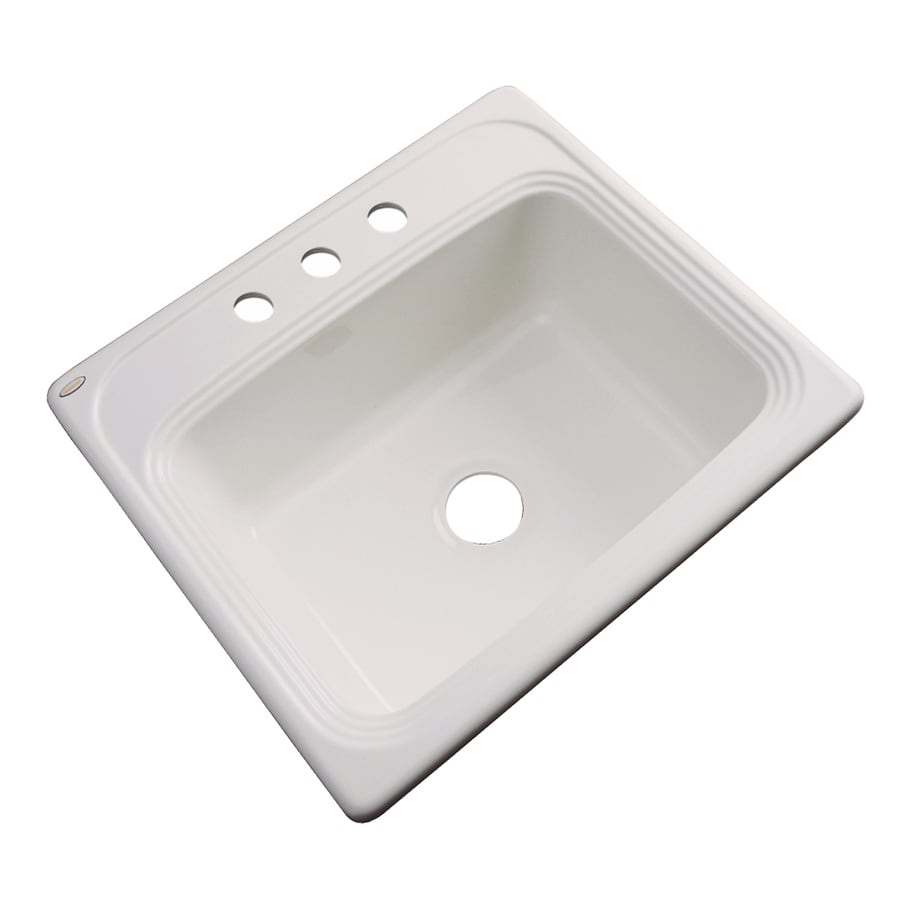 Dekor Master 22-in x 25-in Natural Single-Basin-Basin Acrylic Drop-in 3-Hole Residential Kitchen Sink