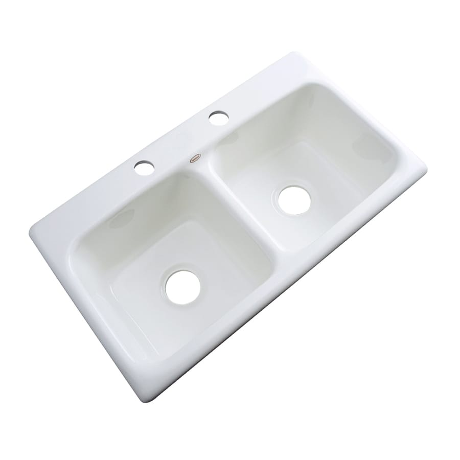 Dekor Master 19-in x 33-in White Double-Basin Acrylic Drop-in 2-Hole Residential Kitchen Sink