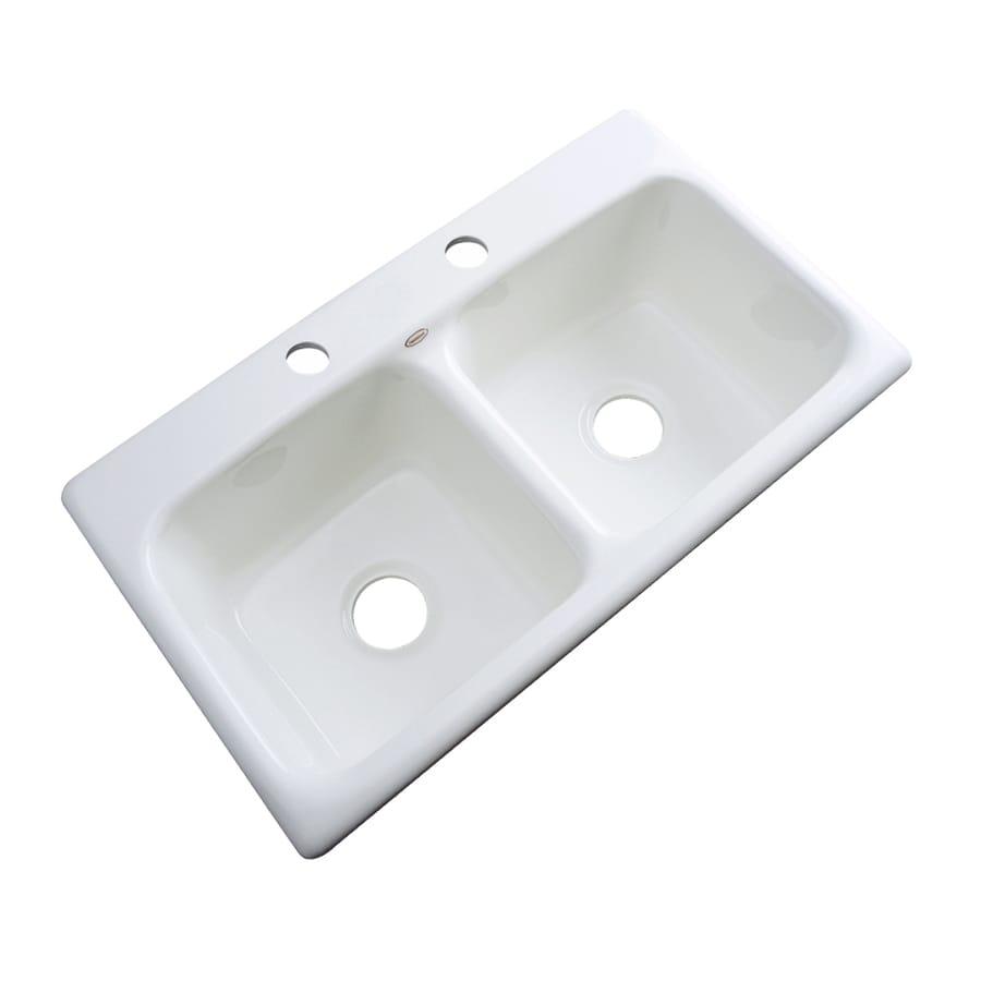 Dekor Master 19-in x 33-in White Single-Basin-Basin Acrylic Drop-in 2-Hole Residential Kitchen Sink