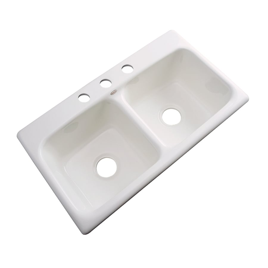 Dekor Master 19-in x 33-in Biscuit Double-Basin Acrylic Drop-in 3-Hole Residential Kitchen Sink
