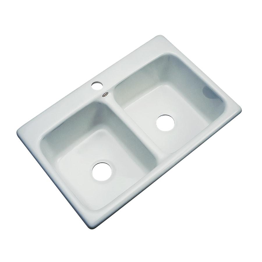 Dekor Master 22-in x 33-in Sterling Silver Double-Basin Acrylic Drop-in 1-Hole Residential Kitchen Sink