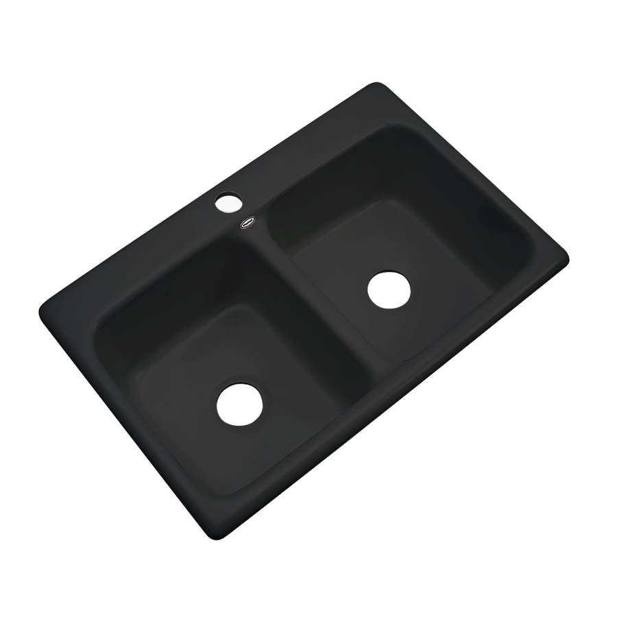 Dekor Master 22-in x 33-in Black Double-Basin Acrylic Drop-in 1-Hole Residential Kitchen Sink
