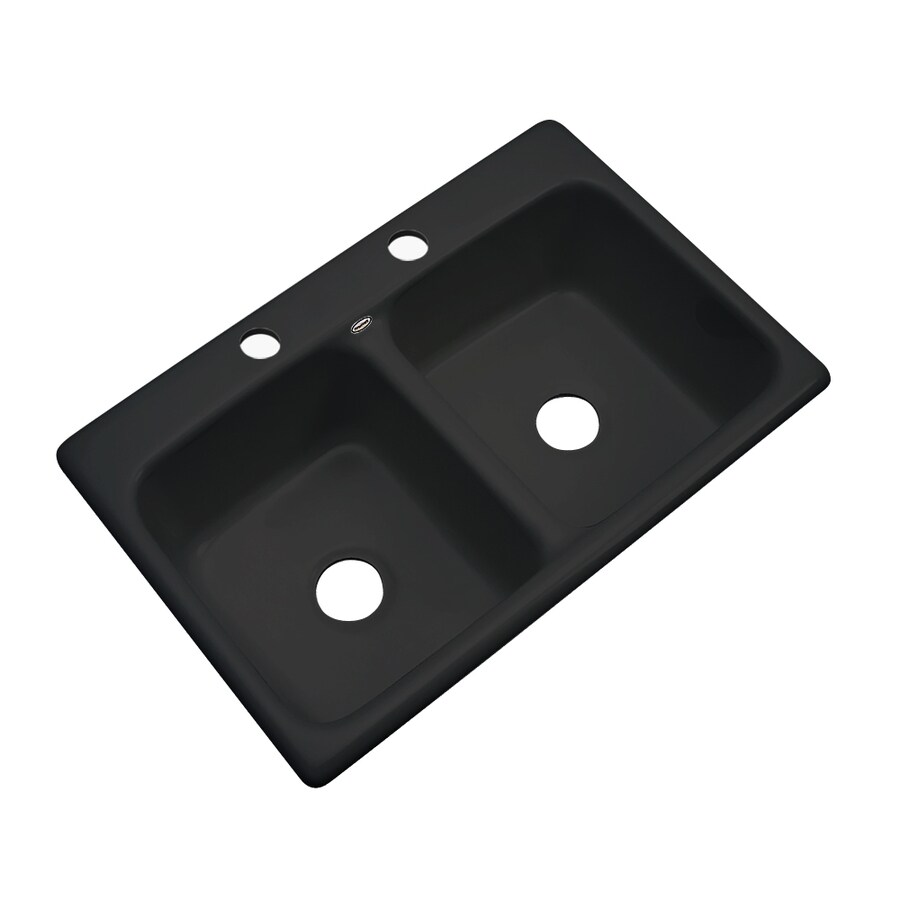 Dekor Master 22-in x 33-in Black Double-Basin Acrylic Drop-in 2-Hole Residential Kitchen Sink