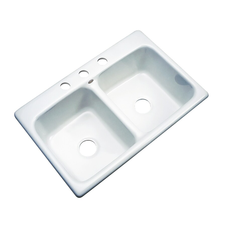 Dekor Master 22-in x 33-in White Double-Basin Acrylic Drop-in 3-Hole Residential Kitchen Sink