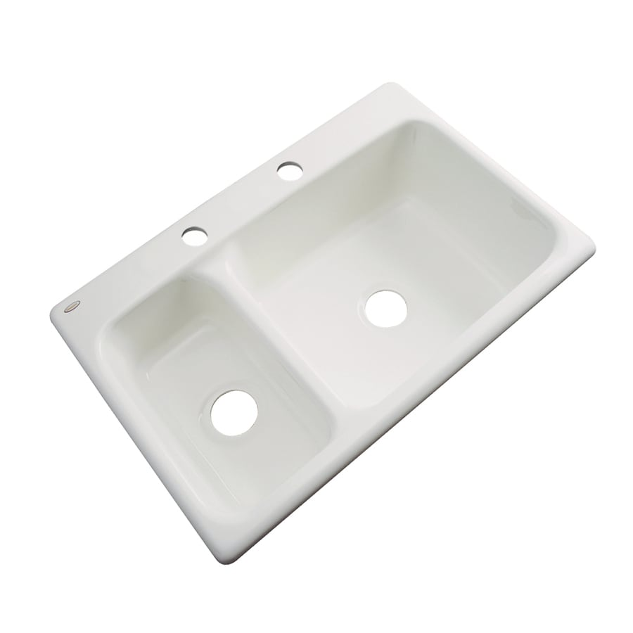 Dekor Master 22-in x 33-in Biscuit Double-Basin Acrylic Drop-in 2-Hole Residential Kitchen Sink