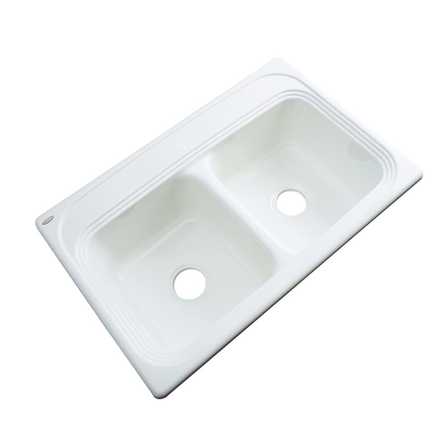 Dekor Master 22-in x 33-in White Double-Basin Acrylic Drop-in Residential Kitchen Sink