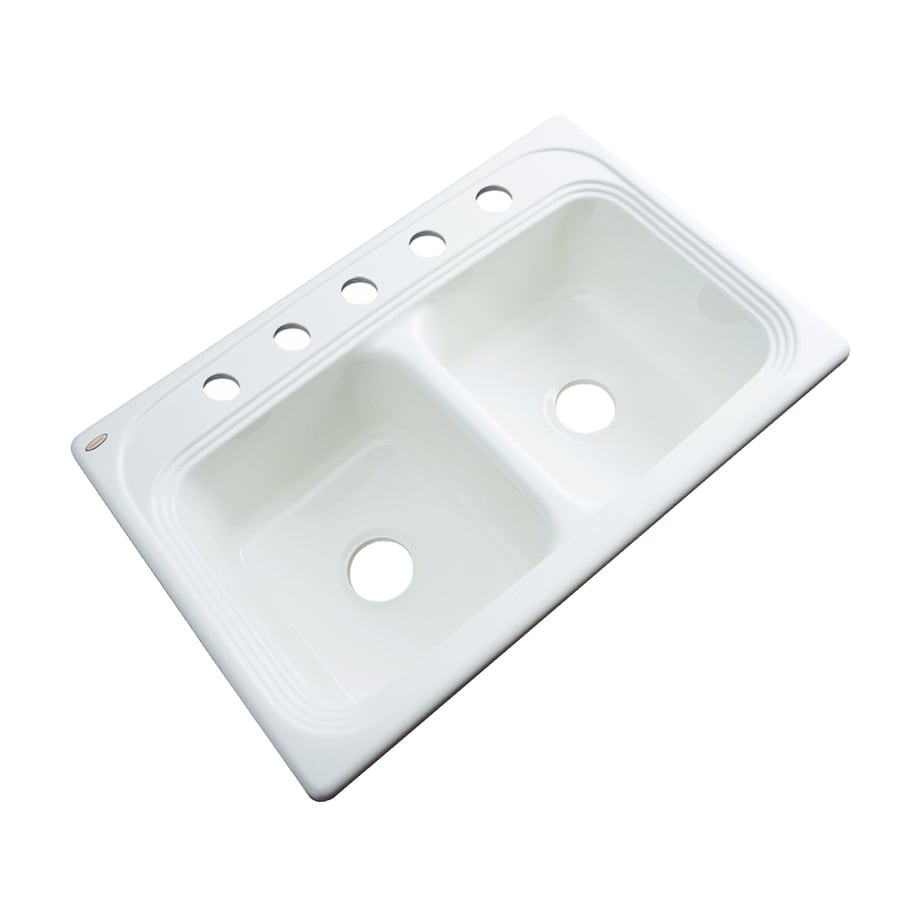 Dekor Master 22-in x 33-in White Double-Basin Acrylic Drop-in 5-Hole Residential Kitchen Sink
