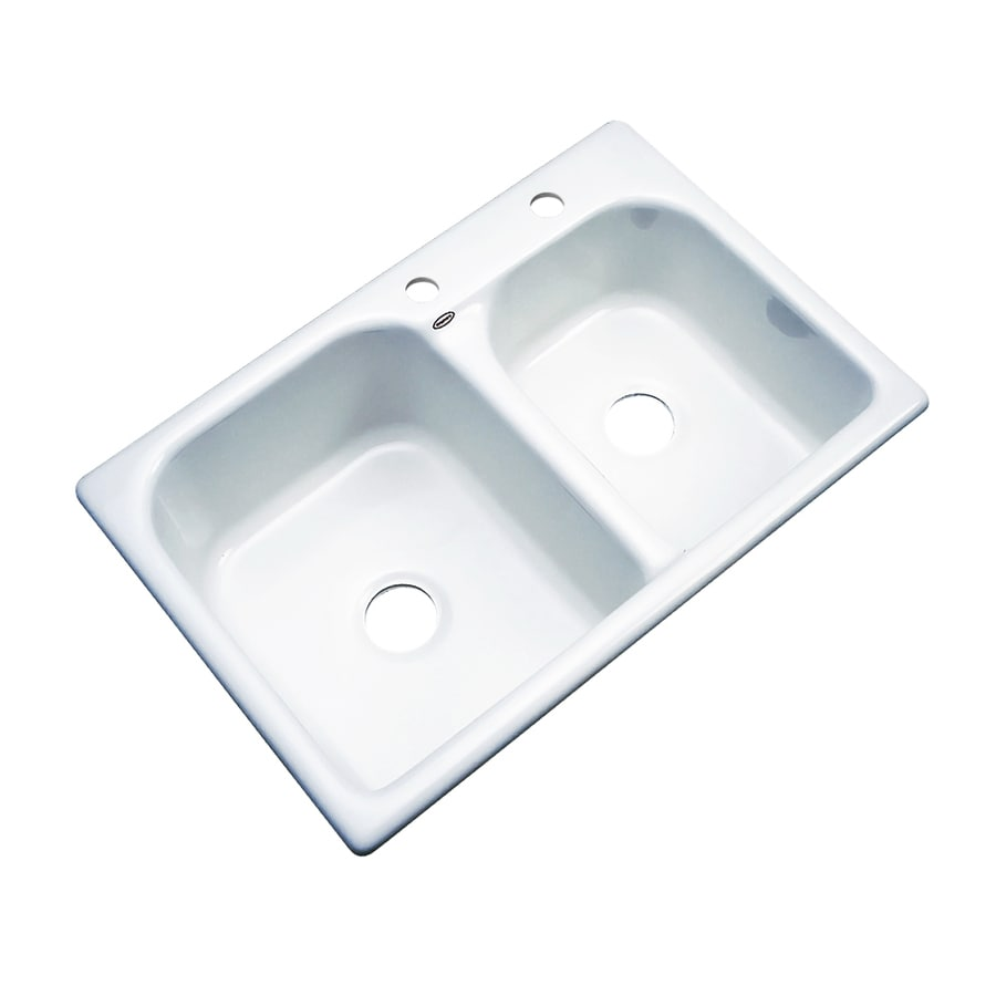 Dekor Master 22-in x 33-in White Double-Basin Acrylic Drop-in 2-Hole Residential Kitchen Sink