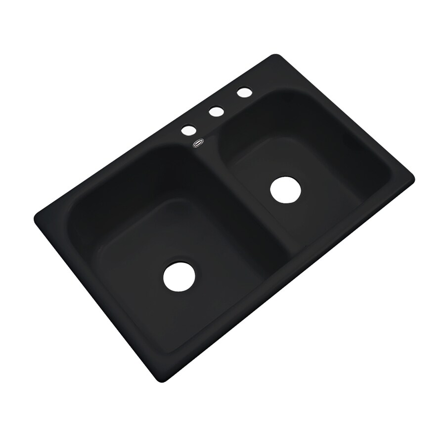 Dekor Master 22-in x 33-in Black Double-Basin Acrylic Drop-in 3-Hole Residential Kitchen Sink