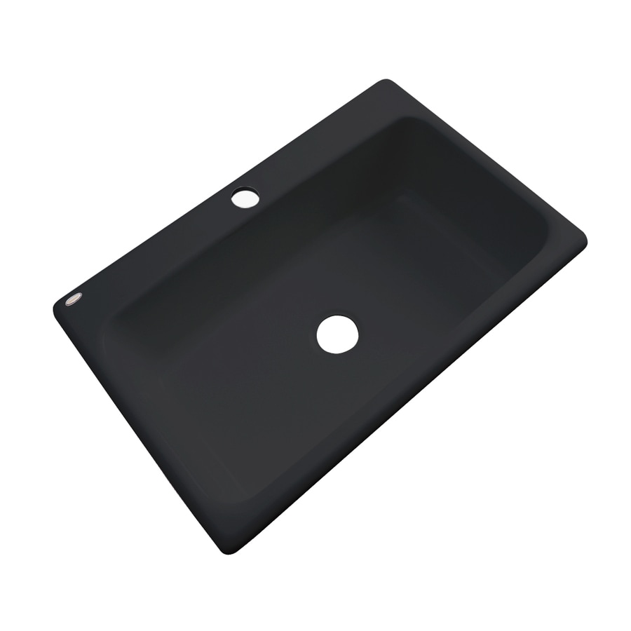 Dekor Master 22-in x 33-in Black Single-Basin Acrylic Drop-in 1-Hole Residential Kitchen Sink