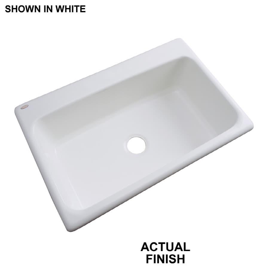 Dekor 22-in x 33-in White Single-Basin Acrylic Drop-In Kitchen Sink