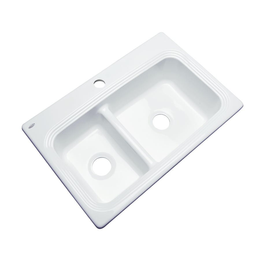 Dekor Master 22-in x 33-in White Double-Basin Acrylic Drop-in 1-Hole Residential Kitchen Sink