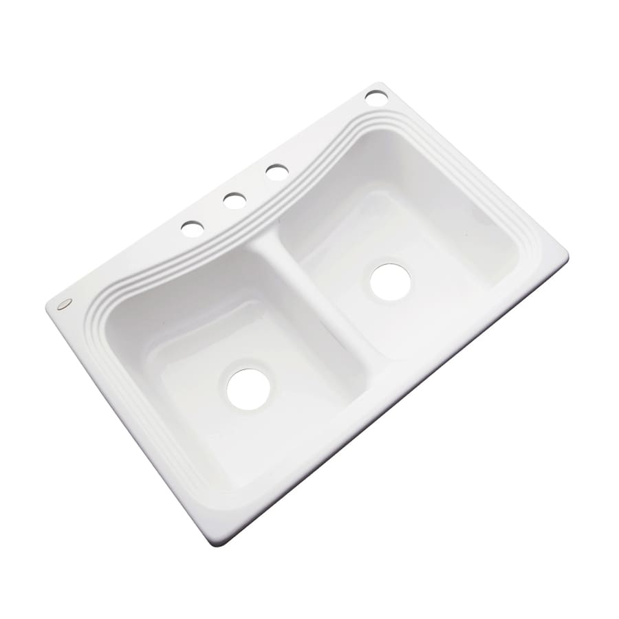 Acrylic Sink : ... in White Double-Basin Acrylic Drop-in 4-Hole Residential Kitchen Sink