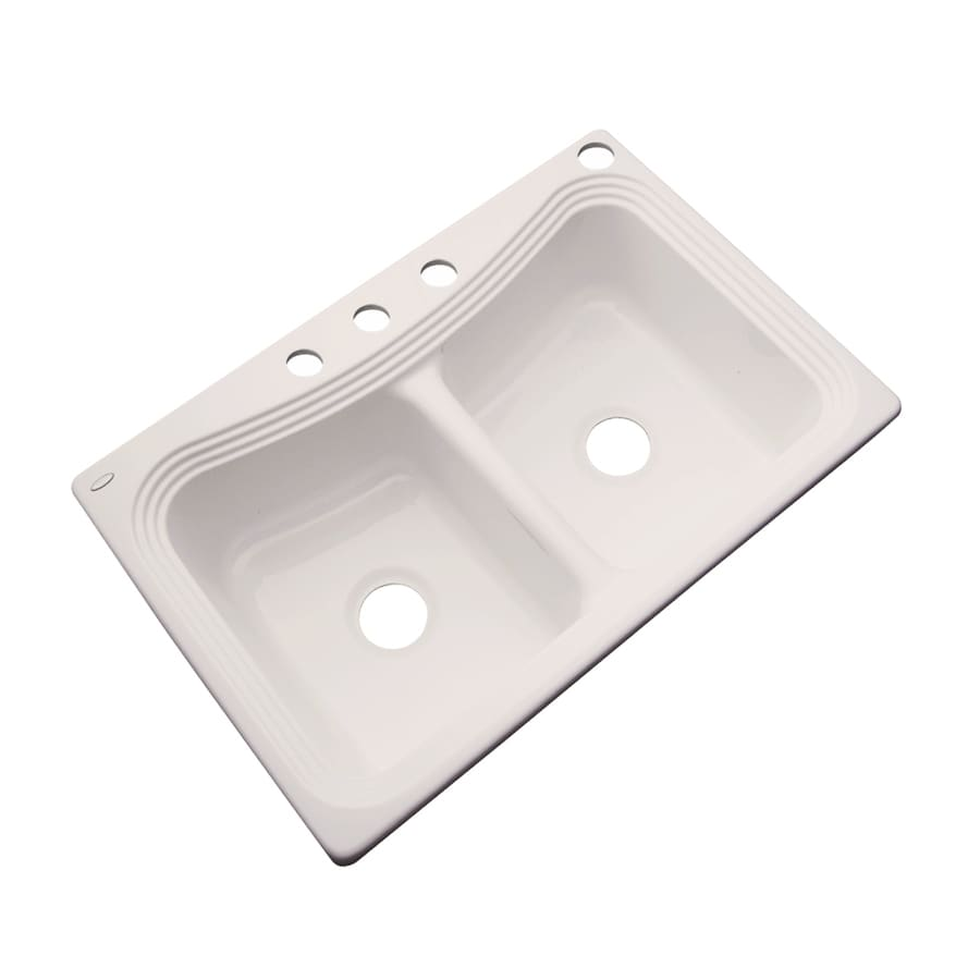 Dekor Master 22-in x 33-in Natural Double-Basin Acrylic Drop-in 4-Hole Residential Kitchen Sink