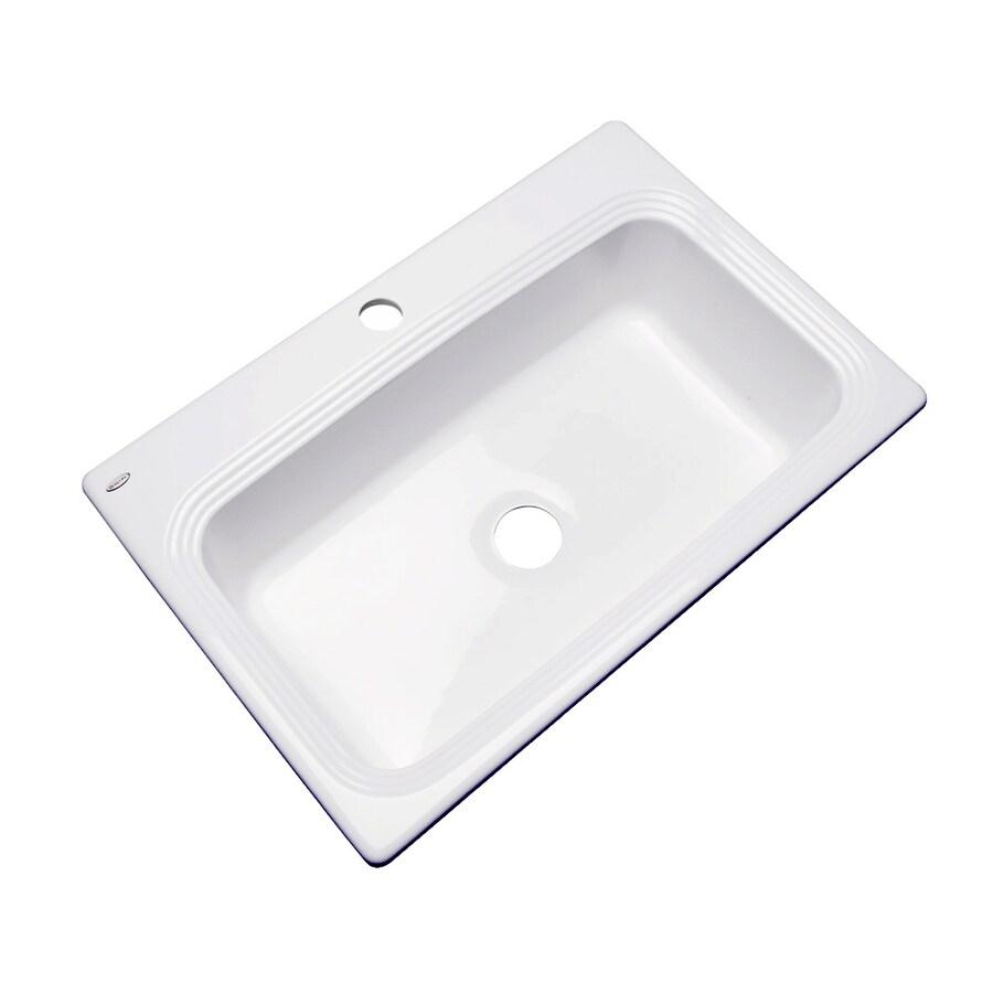 Dekor Master 22-in x 33-in White Single-Basin Acrylic Drop-in 1-Hole Residential Kitchen Sink
