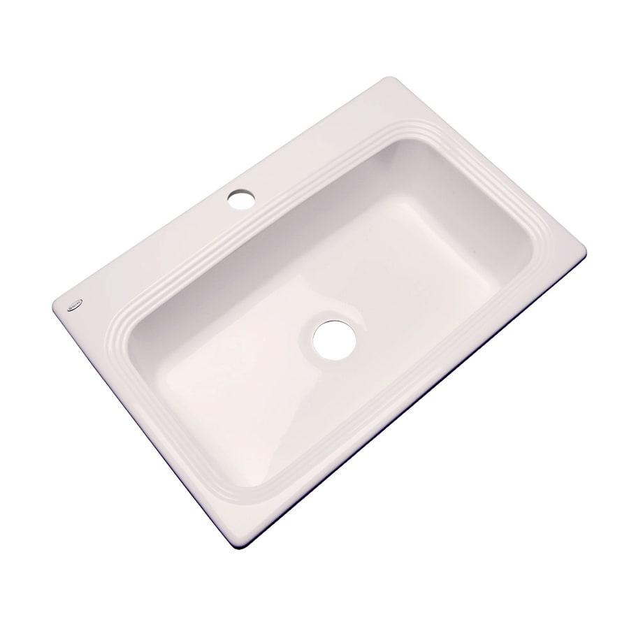 Dekor Master 22-in x 33-in Bone Single-Basin Acrylic Drop-in 1-Hole Residential Kitchen Sink