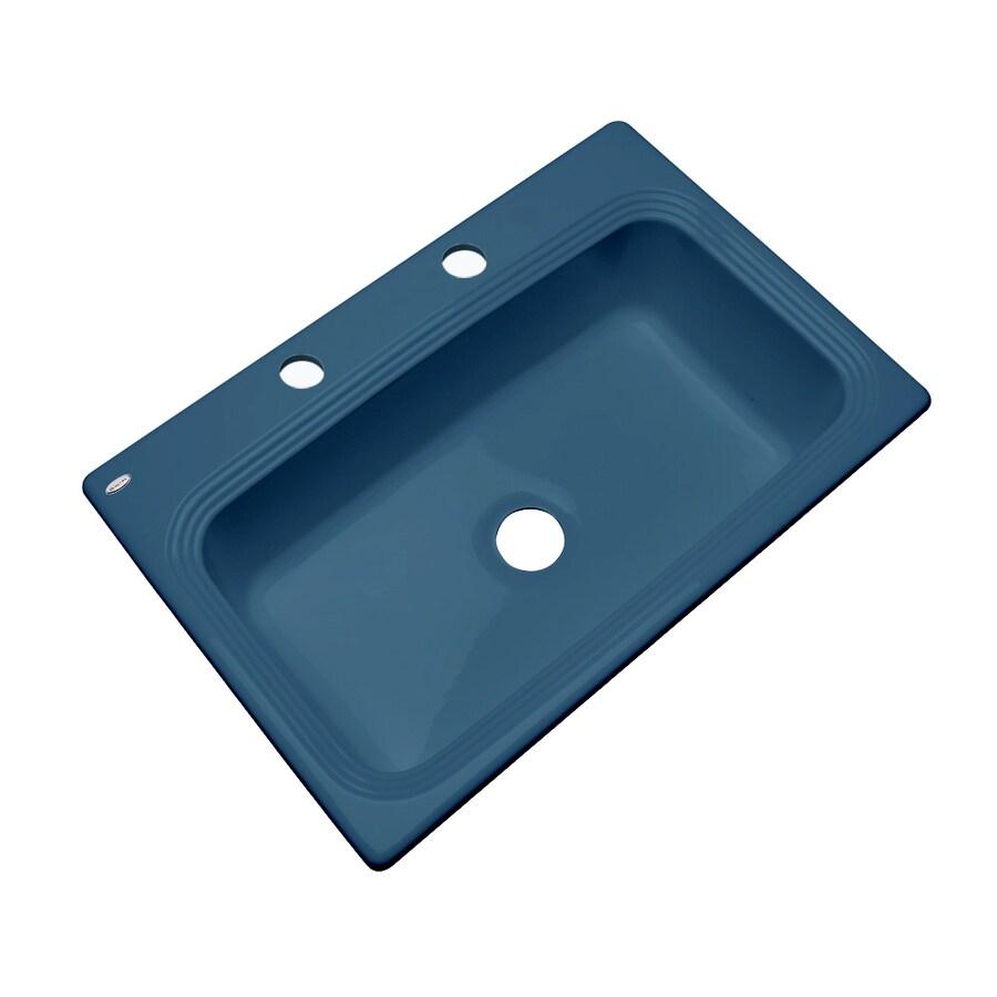Dekor Master 22-in x 33-in Rhapsody Blue Single-Basin Acrylic Drop-in 2-Hole Residential Kitchen Sink