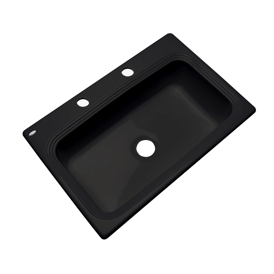 Dekor Master 22-in x 33-in Black Single-Basin Acrylic Drop-in 2-Hole Residential Kitchen Sink
