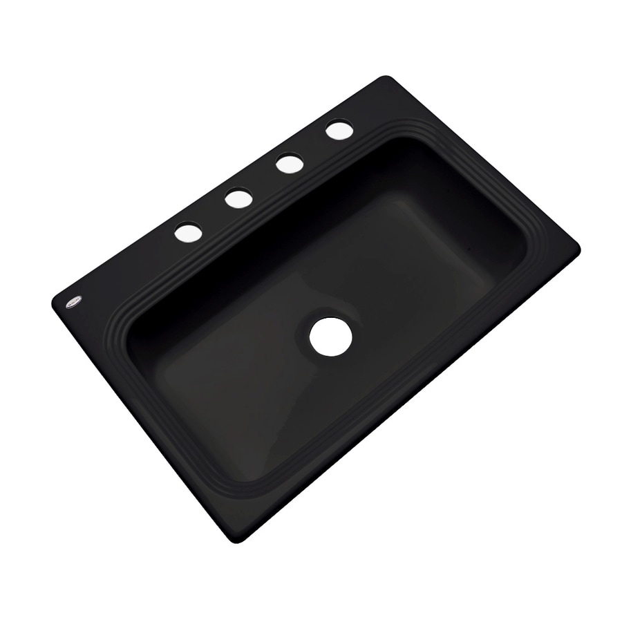 Dekor Master 22-in x 33-in Black Single-Basin Acrylic Drop-in 4-Hole Residential Kitchen Sink
