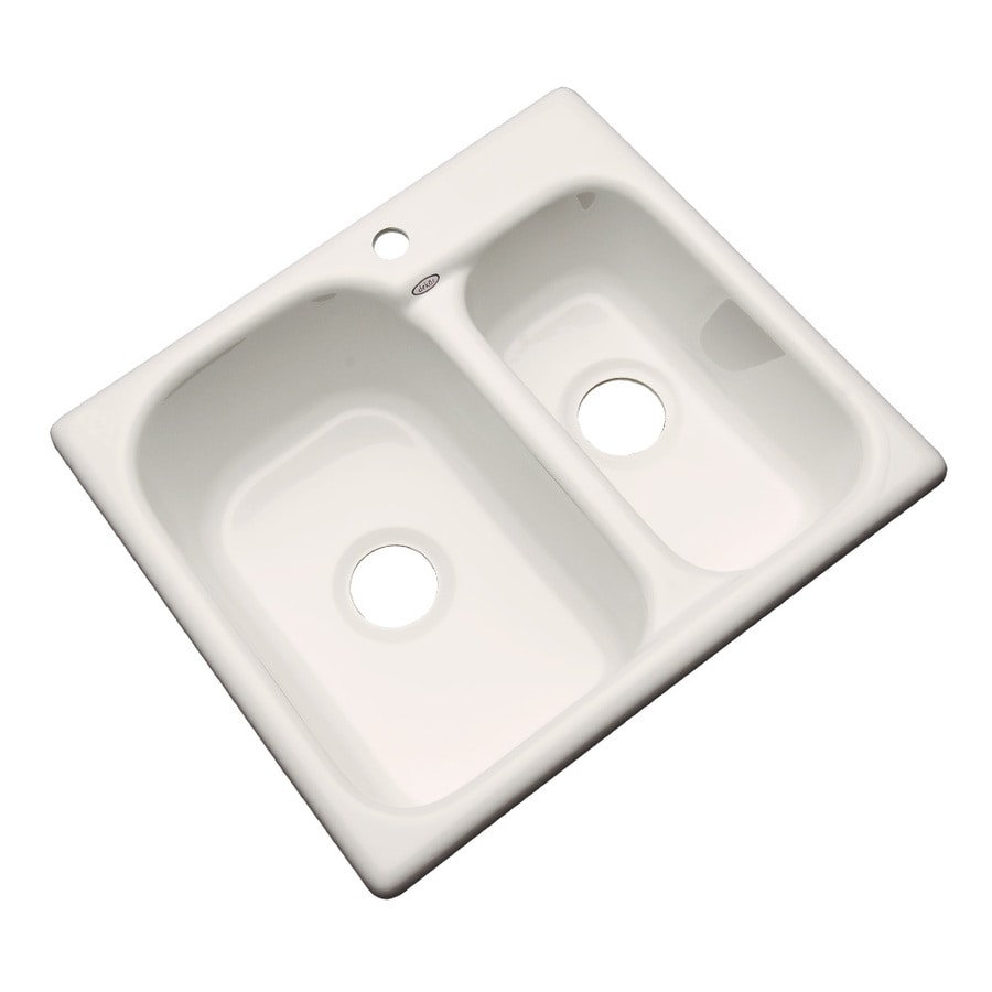 Dekor Master 22-in x 25-in Almond Double-Basin Acrylic Drop-In Kitchen Sink