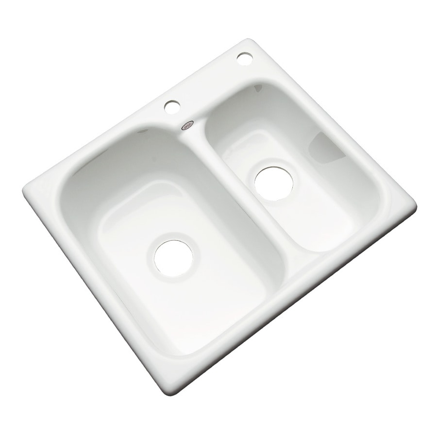 Dekor Master 22-in x 25-in White Double-Basin Acrylic Drop-in 2-Hole Residential Kitchen Sink