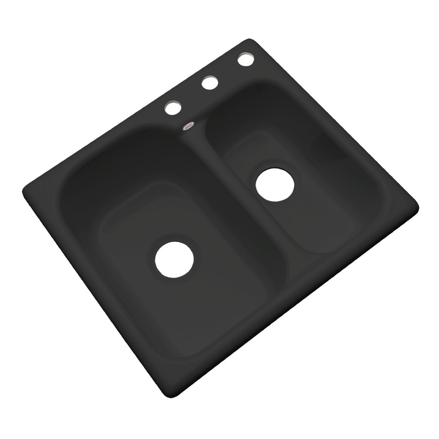 Dekor Master 22-in x 25-in Black Double-Basin Acrylic Drop-in 3-Hole Residential Kitchen Sink