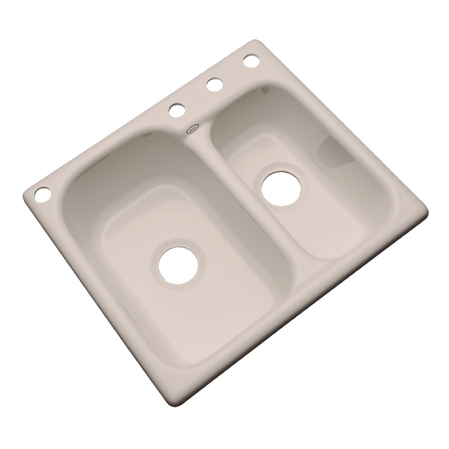 Dekor Master 22-in x 25-in Fawn Beige Double-Basin Acrylic Drop-in 4-Hole Residential Kitchen Sink