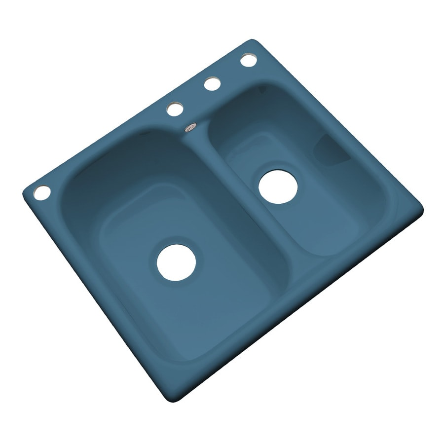 Dekor Master 22-in x 25-in Rhapsody Blue Double-Basin Acrylic Drop-in 4-Hole Residential Kitchen Sink