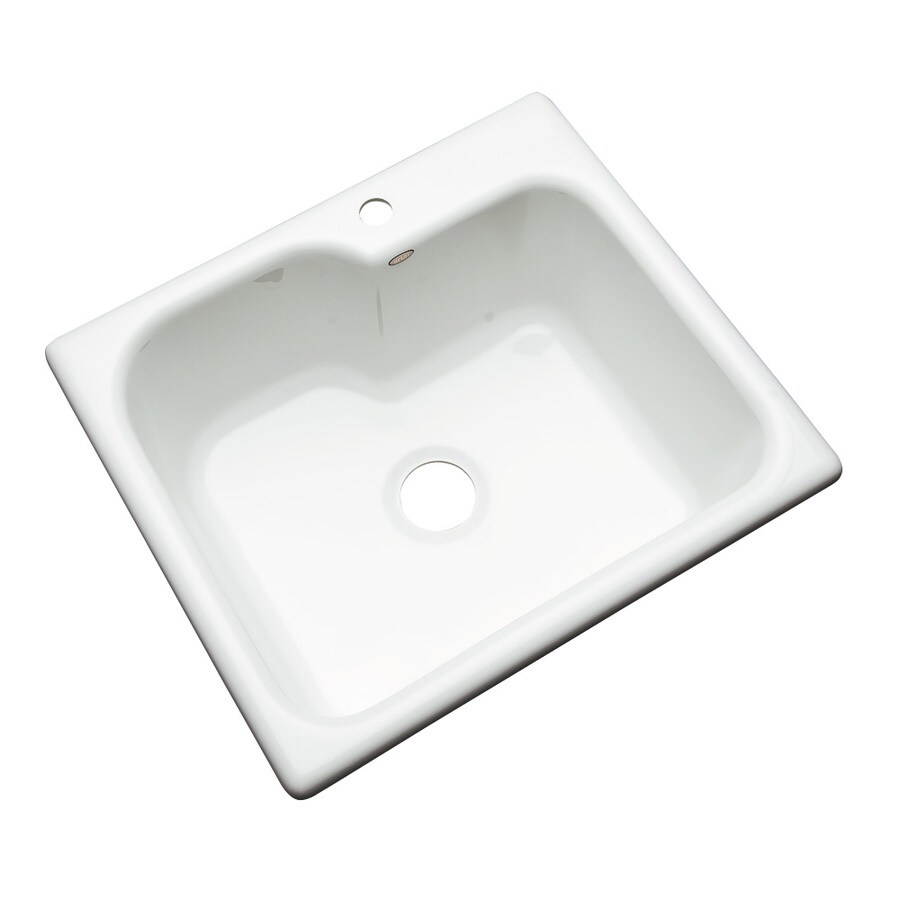 Dekor Master 22-in x 25-in White Single-Basin Acrylic Drop-in 1-Hole Residential Kitchen Sink