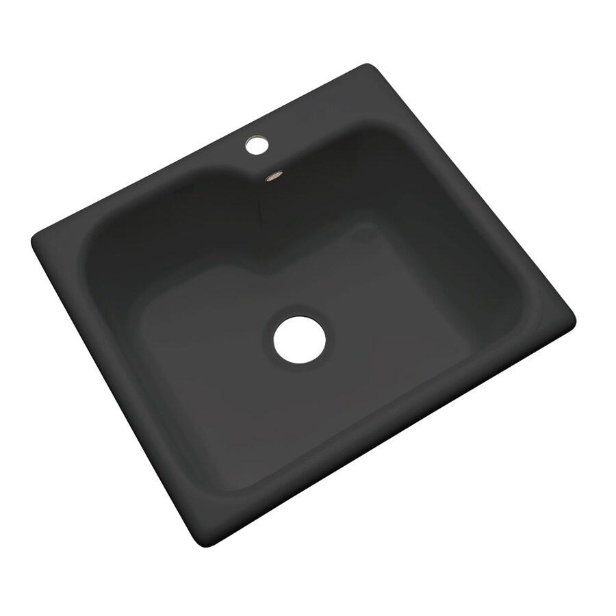 Dekor Master 22-in x 25-in Black Single-Basin Acrylic Drop-in 1-Hole Residential Kitchen Sink