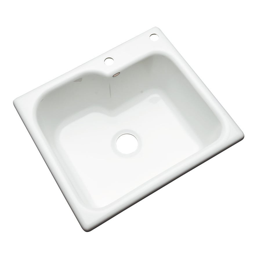 Dekor Master 22-in x 25-in White Single-Basin Acrylic Drop-in 2-Hole Residential Kitchen Sink