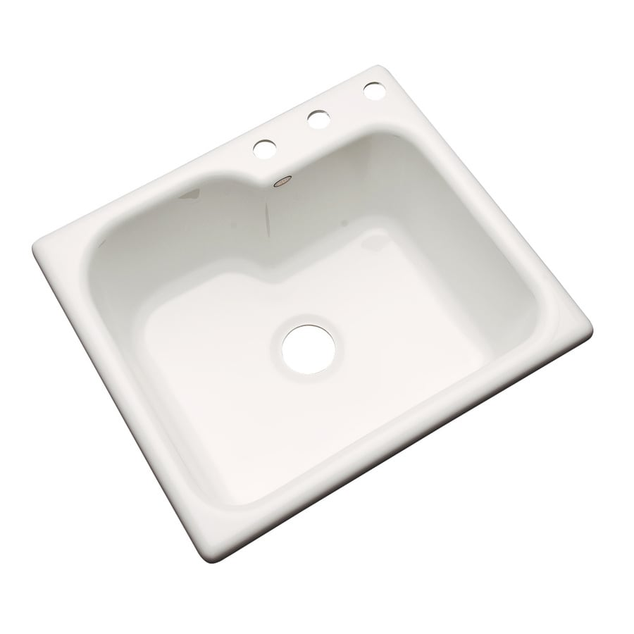 Dekor Master 22-in x 25-in Bone Single-Basin-Basin Acrylic Drop-in 3-Hole Residential Kitchen Sink