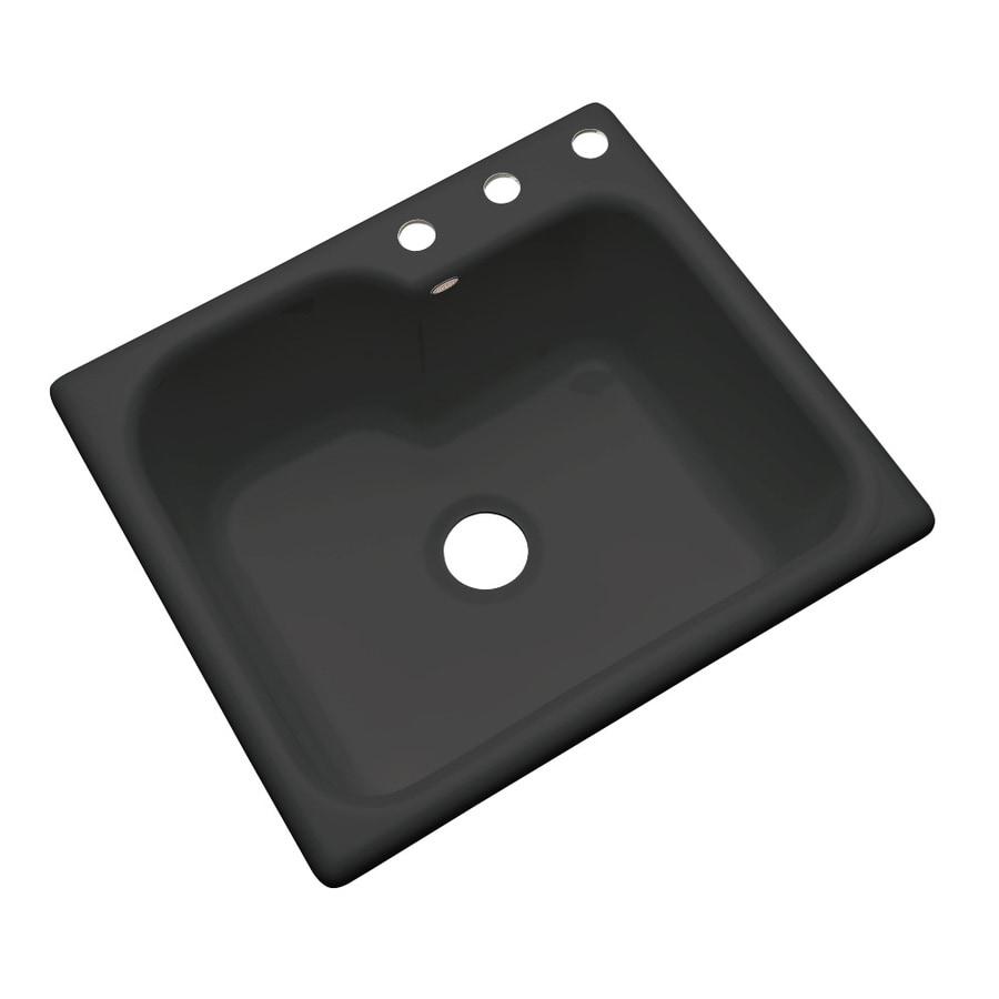 Dekor Master 22-in x 25-in Black Single-Basin Acrylic Drop-in 3-Hole Residential Kitchen Sink