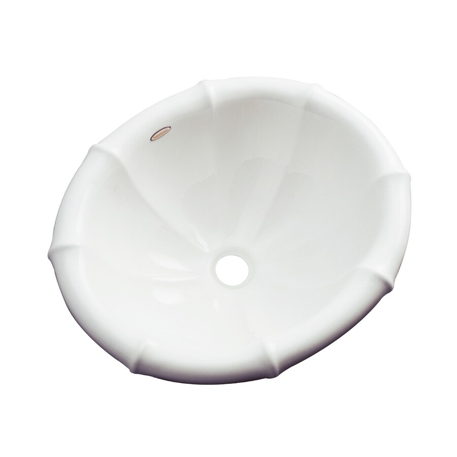 Dekor Oceanside White Composite Drop-In Oval Bathroom Sink with Overflow