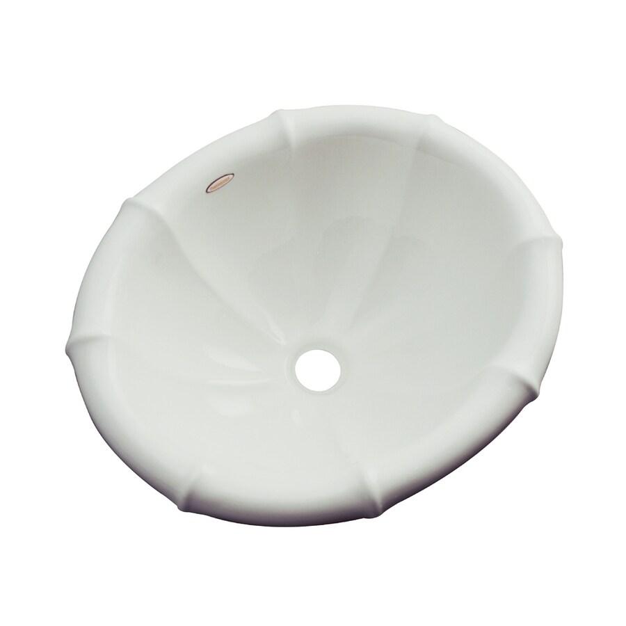 Dekor Oceanside Ice Gray Composite Drop-In Oval Bathroom Sink with Overflow